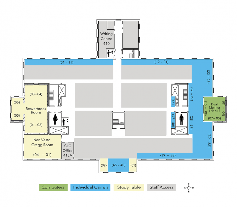 Harriet Irving Library: Fourth Floor Plan